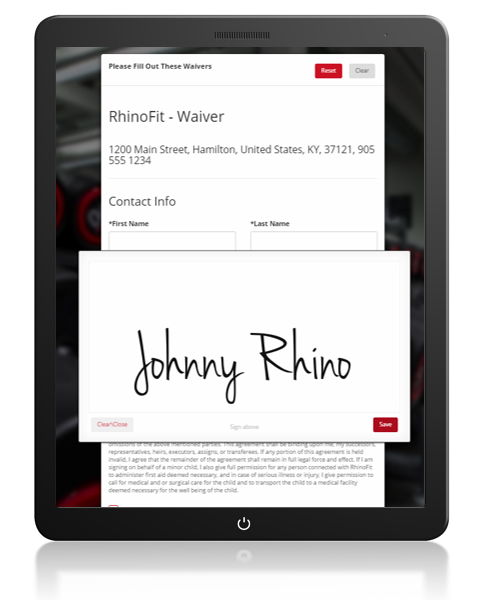 RhinoSign is an easy to use online waiver system