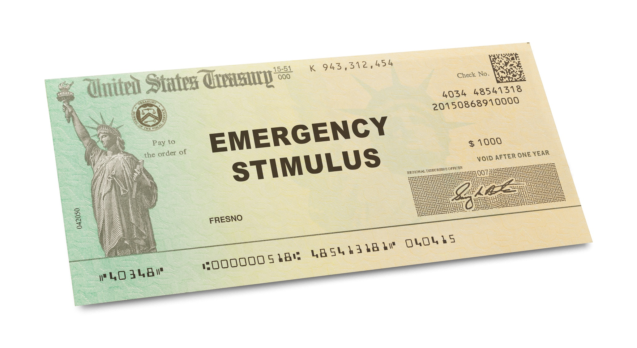 Emergency Stimulus Check Isolated on White Background.